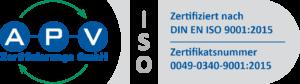 APV-Zertifikat-Logo DIN-ISO 0049-0340-9001-2015