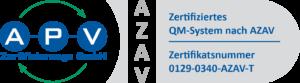 APV-Zertifikat-Logo QM 0129-0340-AZAV-T